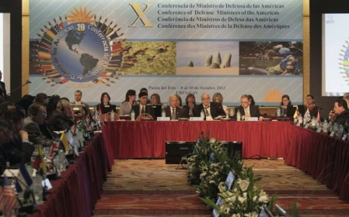 Delegates participate in the opening session of the X Conference of Defense Ministers of the Americas in Punta Del Este city