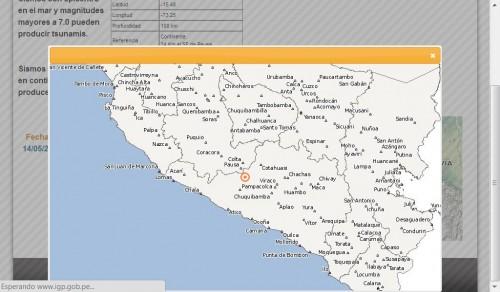 Ubicación del último sismo en Arequipa