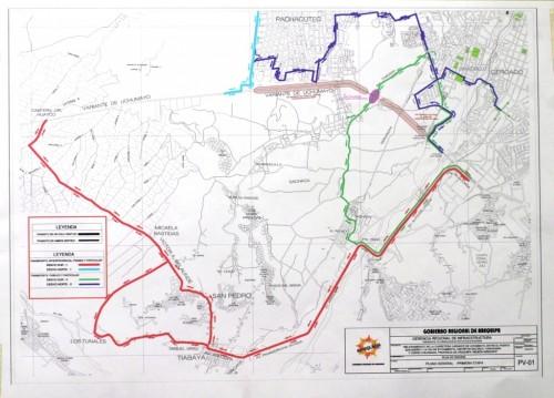 Rojo y verde: desvíos sur Morado y celeste: desvíos norte