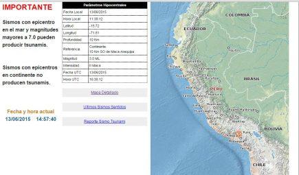 Sismo de intensidad grado II se registró en la provincia de Caylloma