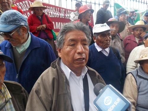Presidente de la Federación Regional del Adulto Mayor Sin Pensión, Froilán Mollo Quispe