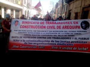 VIDEO. CGTP protestó con marcha contra orden de prisión a dirigentes del valle de Tambo