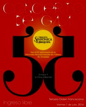 Orquesta Sinfónica de Arequipa dará recital por el 55º aniversario de la Dirección de Cultura