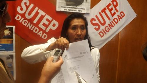 Secretaria provincial del Sutep, Amalia Palomino Pacheco.