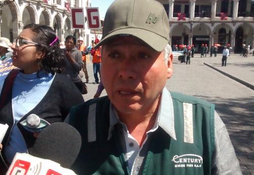 Secretario del Sindicato de Trabajadores Mineros de San Juan de Chorunga, Fernando Manrique Valdivia.