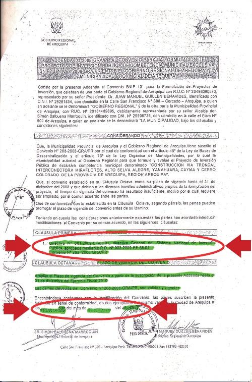 Fechado en la parte inferior como diciembre de 2008, en la parte superior se menciona a una norma del MEF, de fecha febrero de 2009, lo que no deja duda que la fecha real de esta Addenda al Convenio entre el GRA y el MPA no es loq ue señalan.