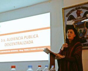 Yamila Osorio en Chivay para audiencia rendición de cuentas gestión GRA