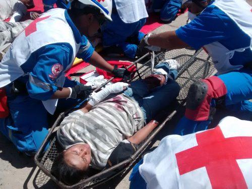 Simulacro atienden herido