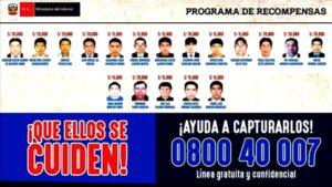 Recompensa por los 18 delincuentes más buscados de Arequipa
