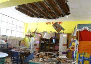 Techo de jardín de niños cae tras persistente lluvia en el Cercado
