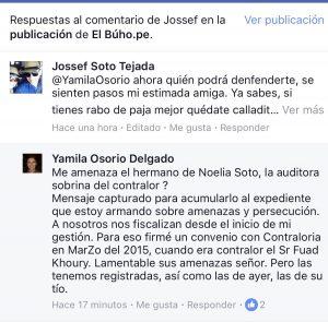 Yamila Osorio denunció amenazas por parte del sobrino del contralor Edgar Alarcón