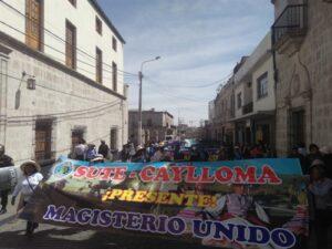 Docentes de Caylloma respaldaron a las bases del Sutep para continuar protesta