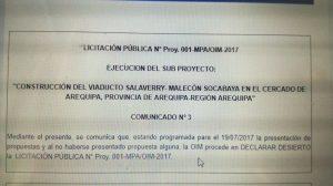 Licitación de Viaducto Salaverry fue declarada desierta