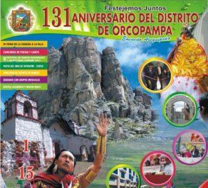 Distrito de Orcopampa presenta programa de festejos por 131º aniversario