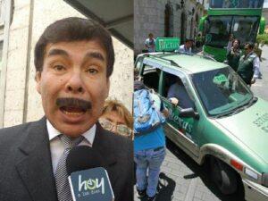 Alcalde olvida críticas a informales y se sube a taxi con Setare vencido