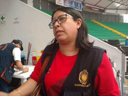 Fiscal Ana Cecilia Cordero informa observaciones al coliseo Arequipa.