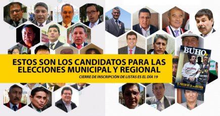 Elecciones 2018: éstos son los candidatos al municipio provincial y al gobierno regional