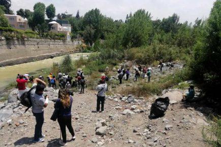 Arequipa: Venezolanos limpian riberas del río Chili en agradecimiento