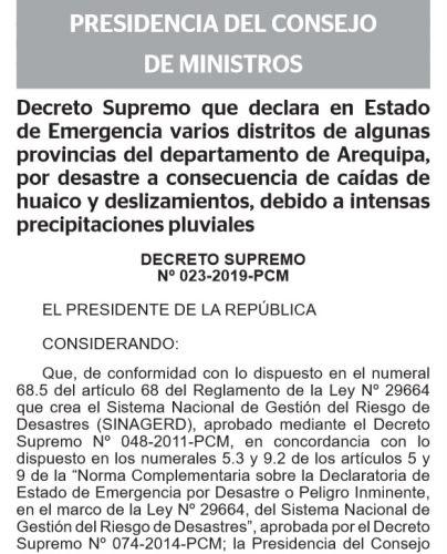 Declaratoria de emergencia en Arequipa