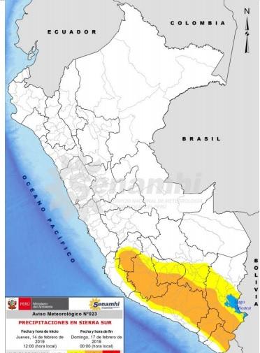 Zonas afectadas según Senmahi
