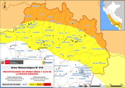 Senmahi emite nueva alerta nivel 3 ante inminencia de lluvias en la región