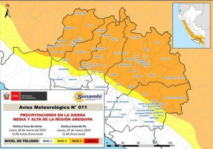 Senamhi advierte de lluvias hasta el jueves 7 de marzo en la región Arequipa