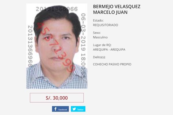 Arequipa Juan bermejo recompensa