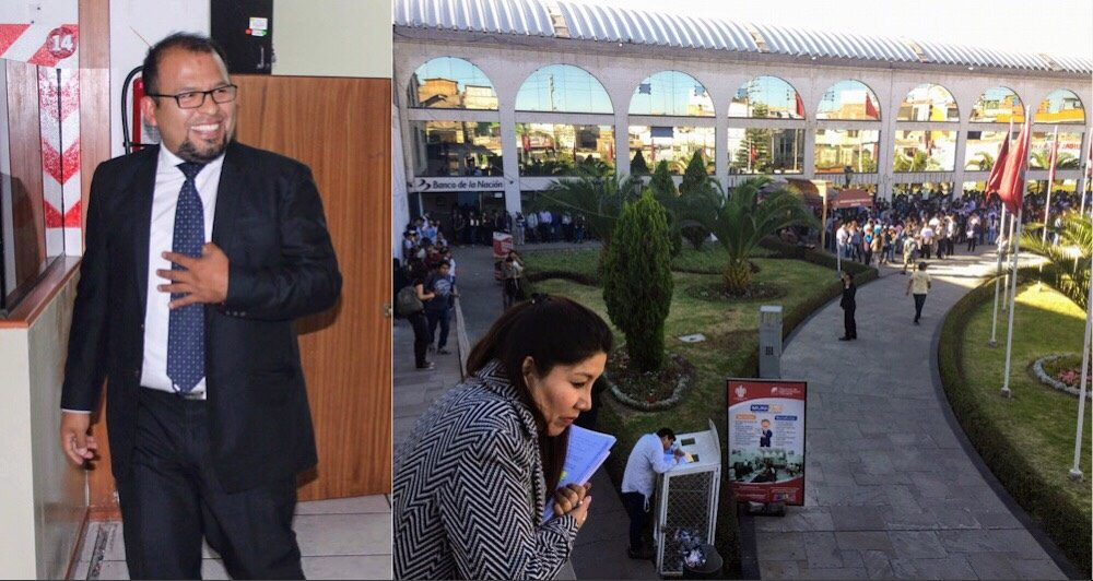 Alcalde de Arequipa Omar Candia Aguilar y fila concurso CAS