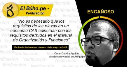 Verificación: Afirmación de Omar Candia sobre concurso CAS del municipio es engañosa