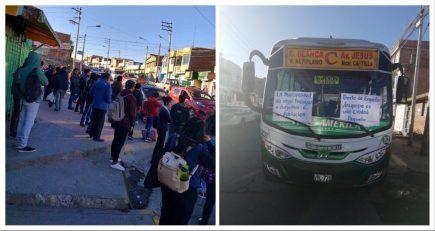 Paro de opositores al SIT en Paucarpata deja sin transportes al distrito