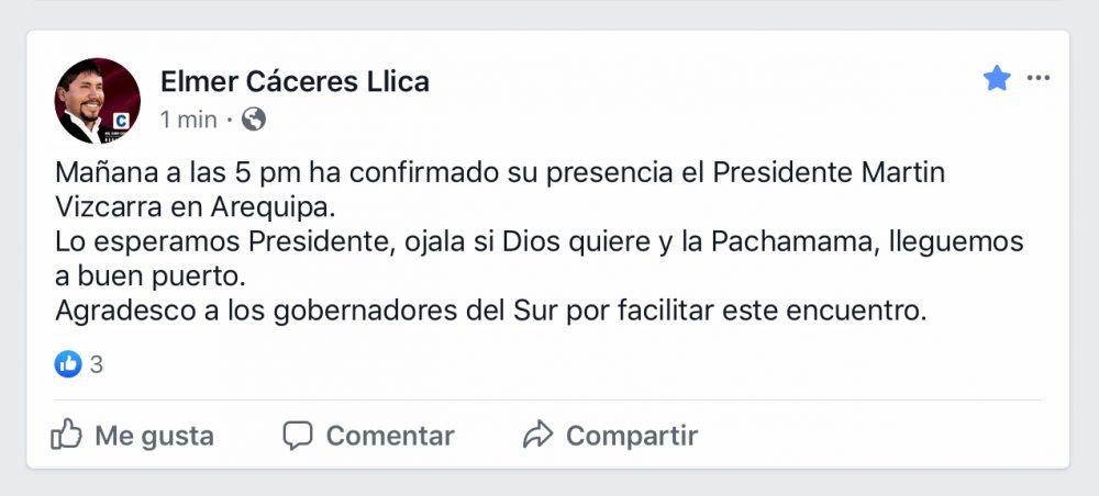 Arequipa Elmer Cáceres llica gobierno regional comunicado llegada Martín Vizcarra