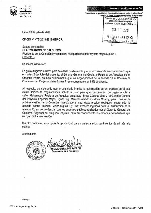 arequipa citacion elmer cáceres llica gobernador regional majes siguas adenda 13 congreso