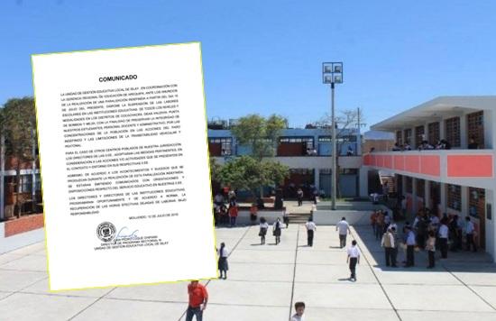 suspensión de labores escolares