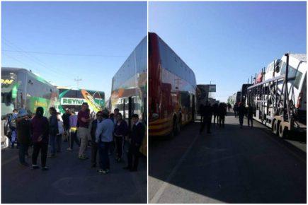 Tía María: Buses varados por bloqueo en el kilómetro 48 de la Panamericana Sur