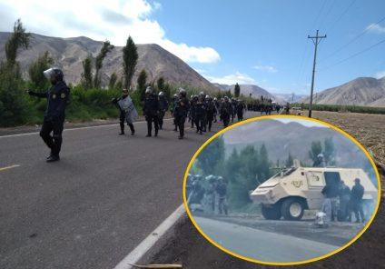 Tía María: PNP con tanquetas y helicóptero llega a Cocachacra (FOTOS)
