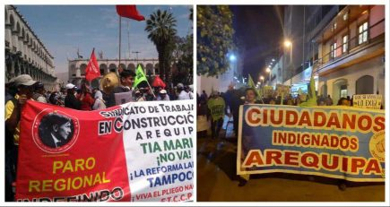 """Arequipa: Marchan para """"Que se vayan todos"""" y contra Tía María"""