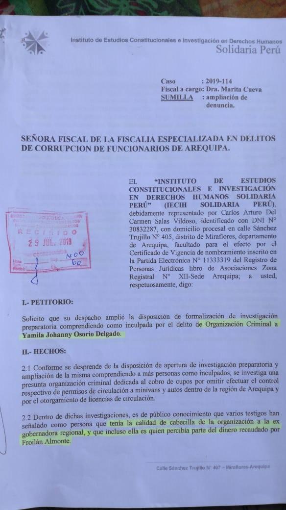 Denuncia penal contra Yamila Osorio