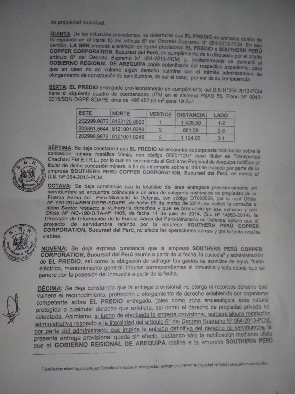 Acta firmada por Southern sobre terrenos de 49ha