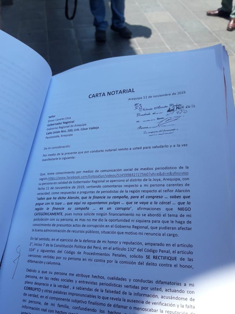 arequipa carta notarial edgar alarcón