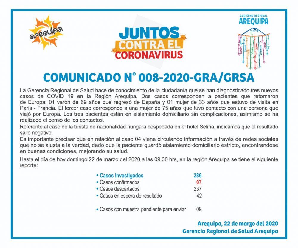 arequipa casos coronavirus covid 19 siete