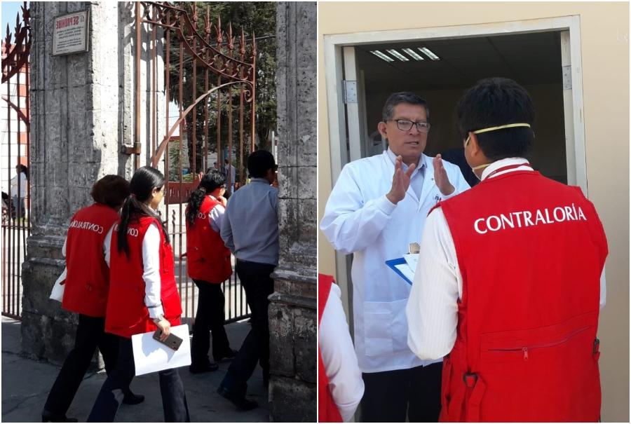 Inspectores de la Contraloría de la República visitaron ambos nosocomios ante caso de coronavirus. Fotos: CGR