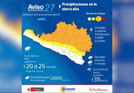 Arequipa: Pronostican nuevo periodo de lluvias desde este lunes