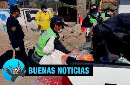 Arequipa: policías llevan víveres a familia de niña víctima de coronavirus