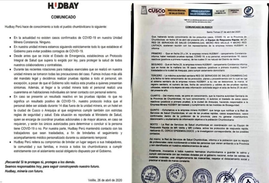 Comunicados de minera Hudbay y de la Gerencia Regional de Cusco