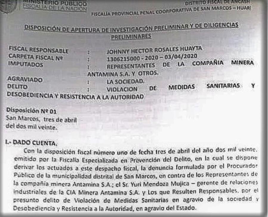 Documento de Fiscalía sobre investigación a Antamina