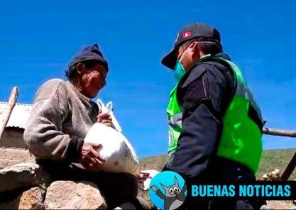 Policía de Chiguata efectuó donación de víveres a familias pobres (VIDEO)
