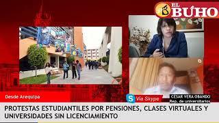 Estudiantes universitarios protestan por pensiones, clases virtuales y licenciamiento – entrevistas