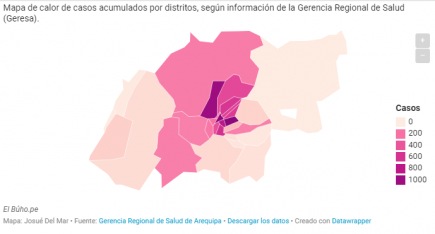 Los 5 distritos de Arequipa con más concentración de casos COVID