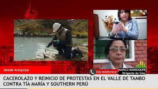 Cacerolazo en Cocachacra contra proyecto Tía María – Entrevista a Marilú Marroquín