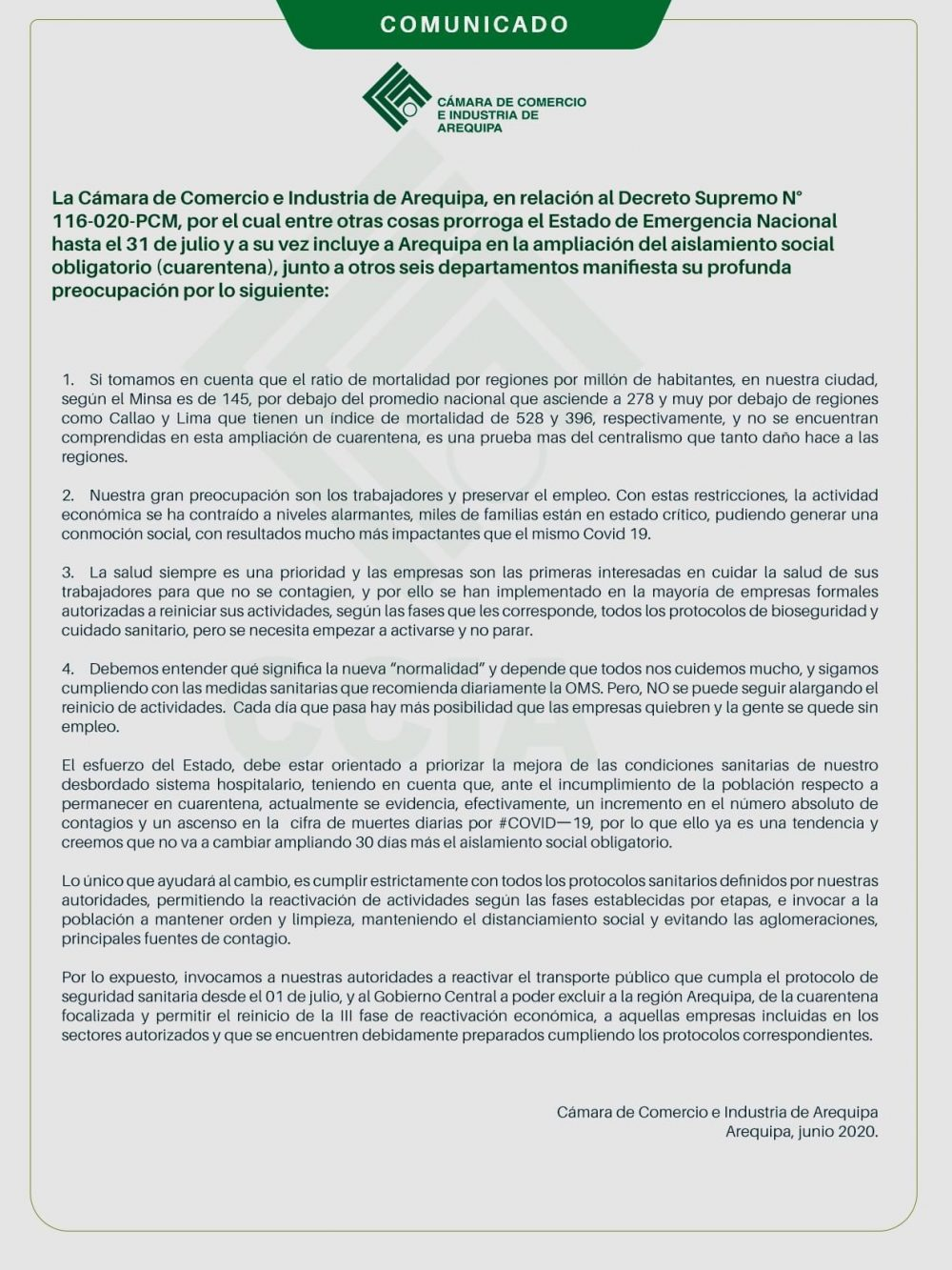 comunicado cámara de comercio e industria de Arequipa
